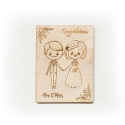 """Дървена картичка """"Младоженци"""""""